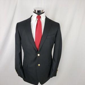 Stafford Mens 44L Blazer Wool Tweed Gold Black